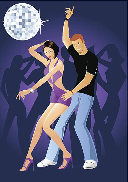 paar tanzen in einem nachtclub - paararmbänder stock-grafiken, -clipart, -cartoons und -symbole
