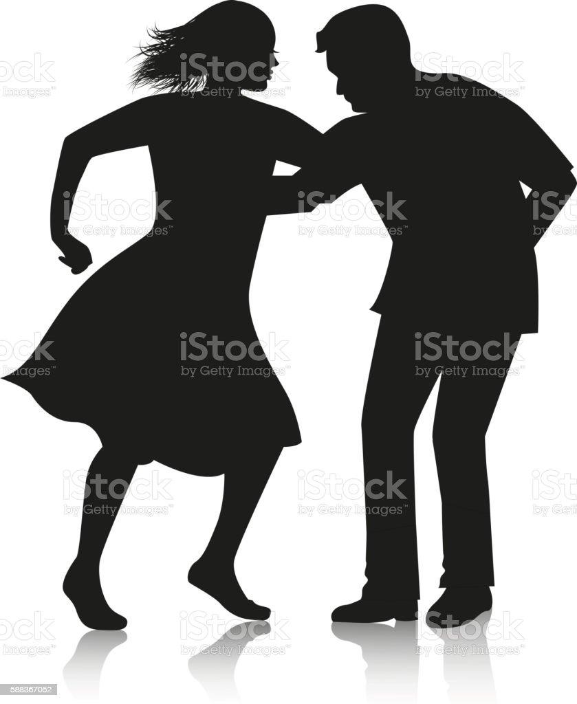 couple dancing Latino dance vector art illustration