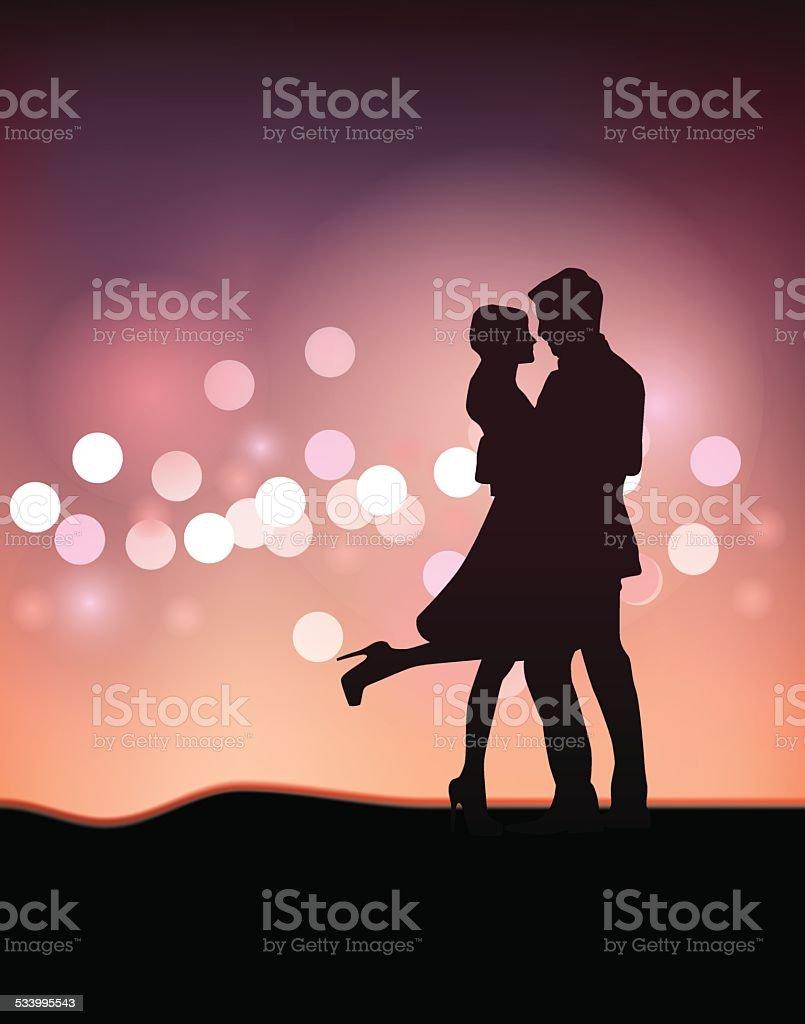 Paar Tanz Silhouette Abbildung – Vektorgrafik
