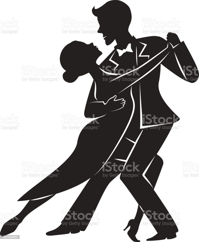 Couple dancing tango silhouette vector art illustration