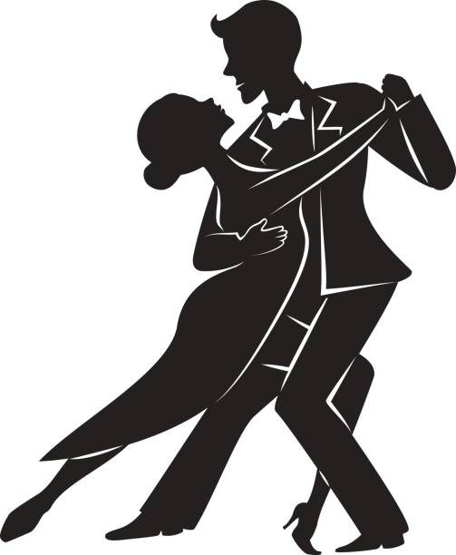 ilustrações, clipart, desenhos animados e ícones de silhueta de tango dança casal - baile de graduação
