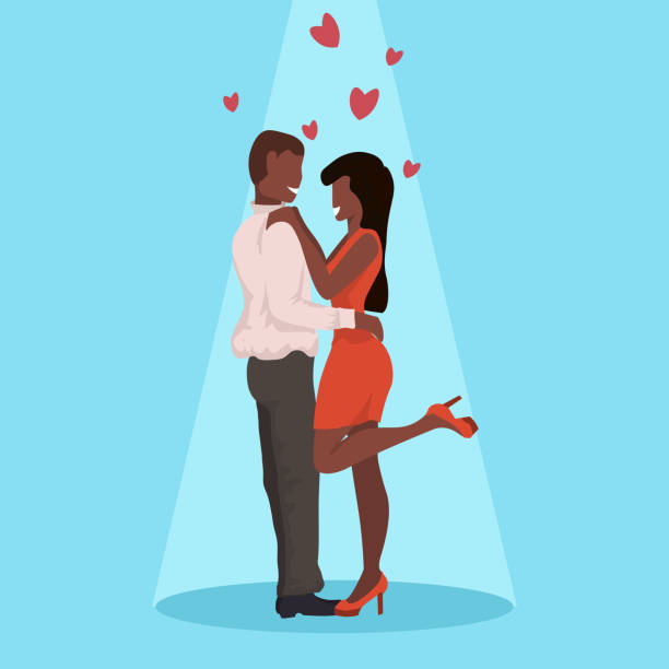 couple dancing together happy valentines day celebrating concept man woman having fun african american lovers over heart shapes flat horizontal full length couple dancing together happy valentines day celebrating concept man woman having fun african american lovers over heart shapes flat horizontal full length vector illustration african american valentine stock illustrations