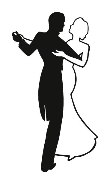 couple dancing - prom fashion stock illustrations, clip art, cartoons, & icons