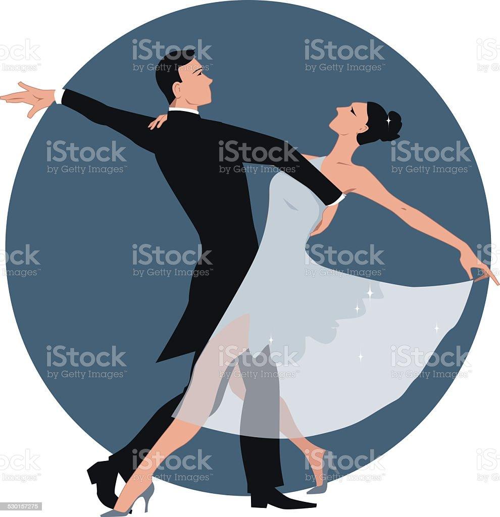Couple dancing waltz vector art illustration