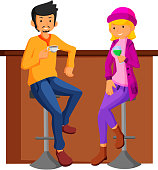 illustration of Couple date in bar. flat design