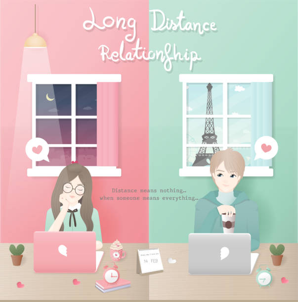 25.1.2018 couple distance Long distance relationship concept with boy and girl chatting in a different country, love couple. Flat design vector illustration. long distance relationship stock illustrations