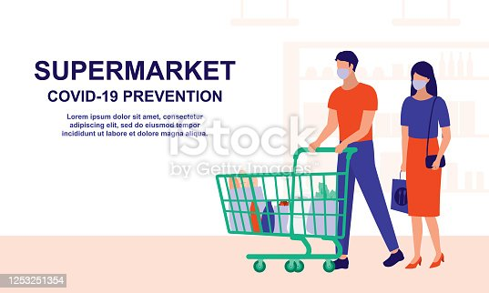 istock Couple Doing Grocery Shopping At The Supermarket. Marketing, Social Distancing And COVID-19 Coronavirus Prevention Concept. Vector Flat Cartoon Illustration. 1253251354