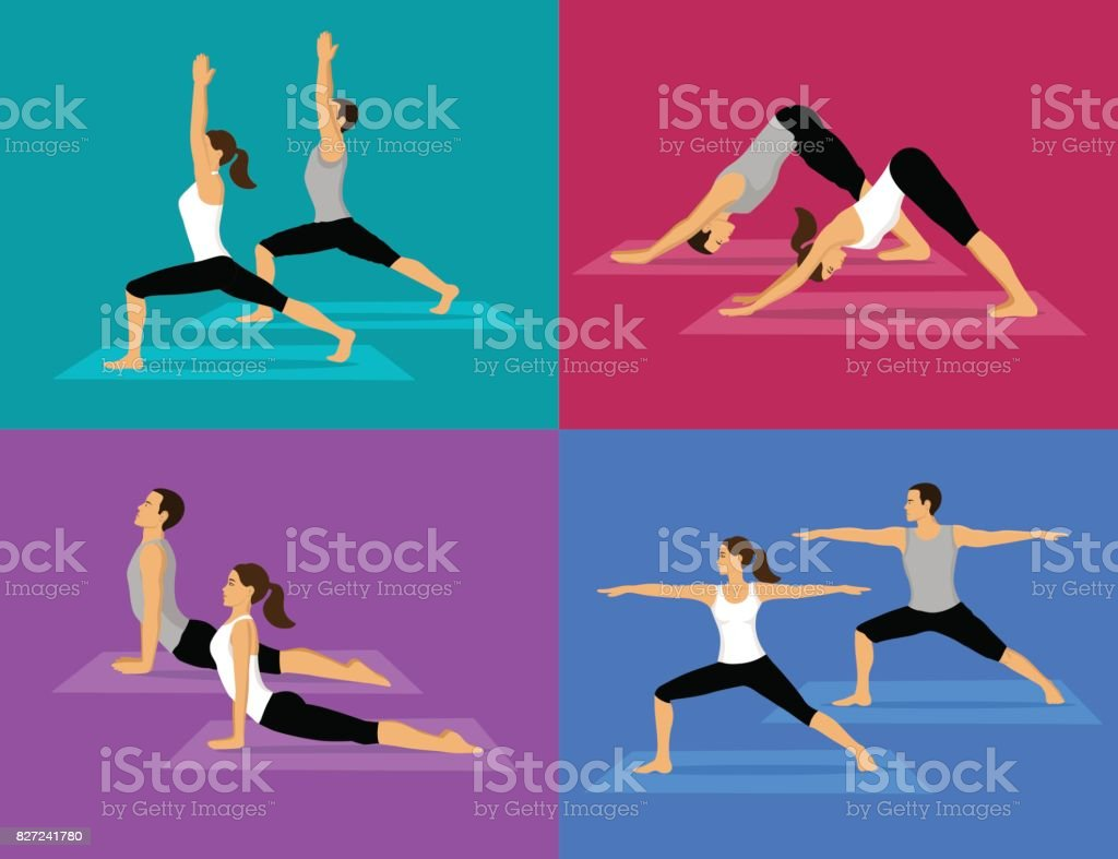 Couple doing Yoga Workout Set. man and woman in warrior one and two, upwards and downwards facing dog poses. vector art illustration