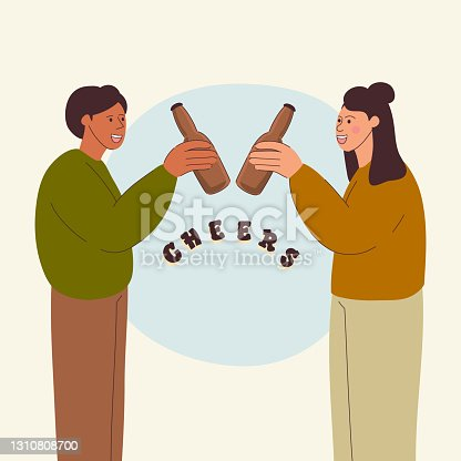 Couple Drink Beer Concept, Cartoon Style Vector Illustration