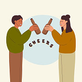 istock Couple Drink Beer Concept, Cartoon Style Vector Illustration 1310808700
