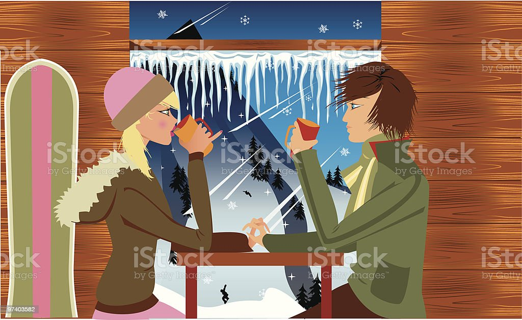 Couple Drinking Coffee at Ski Resort Looking Out Over Hill royalty-free couple drinking coffee at ski resort looking out over hill stock vector art & more images of 16-17 years
