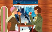 Illustration of two teenagers in love after a long day of snow boarding in a sky resort.  Illustration, 300 dpi, 14 x 8,5 inch EPS, AI (vector), JPEG (High, medium and low resolution) included