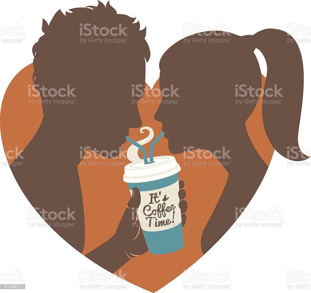 Couple, boire du café.  Écran plat. - Illustration vectorielle
