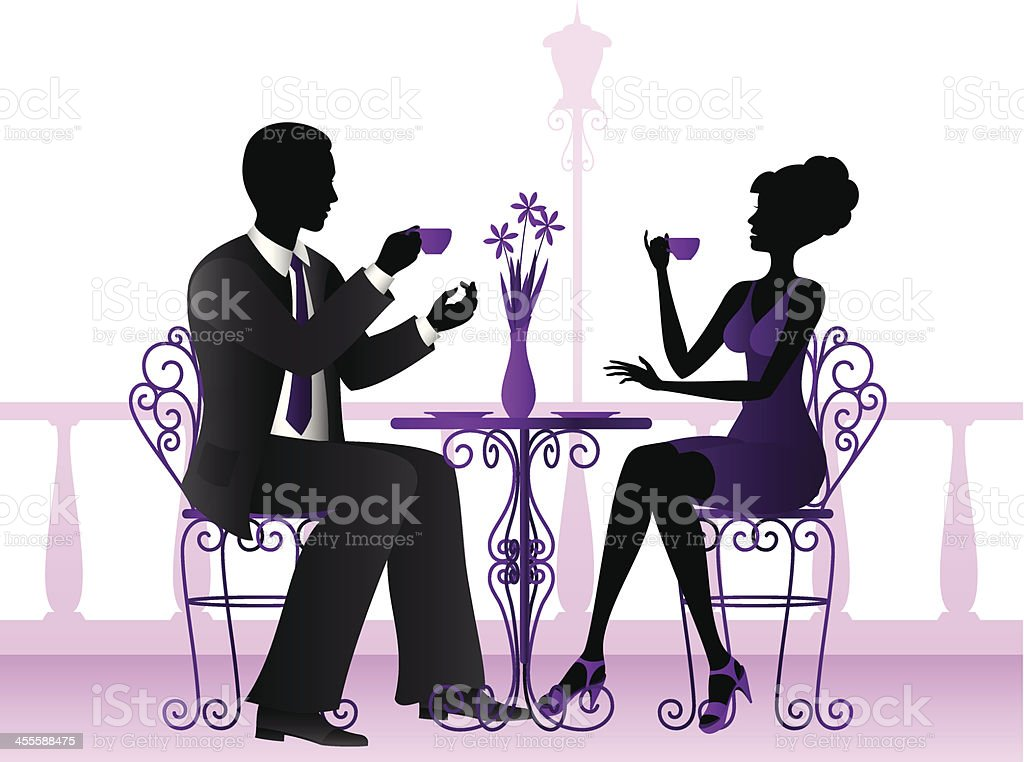 Couple drinking coffee. royalty-free stock vector art