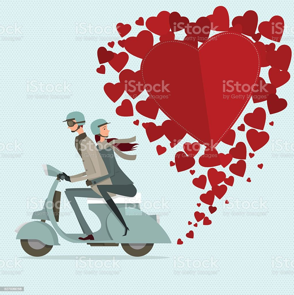 Couple driving scooter sweetheart. vector art illustration
