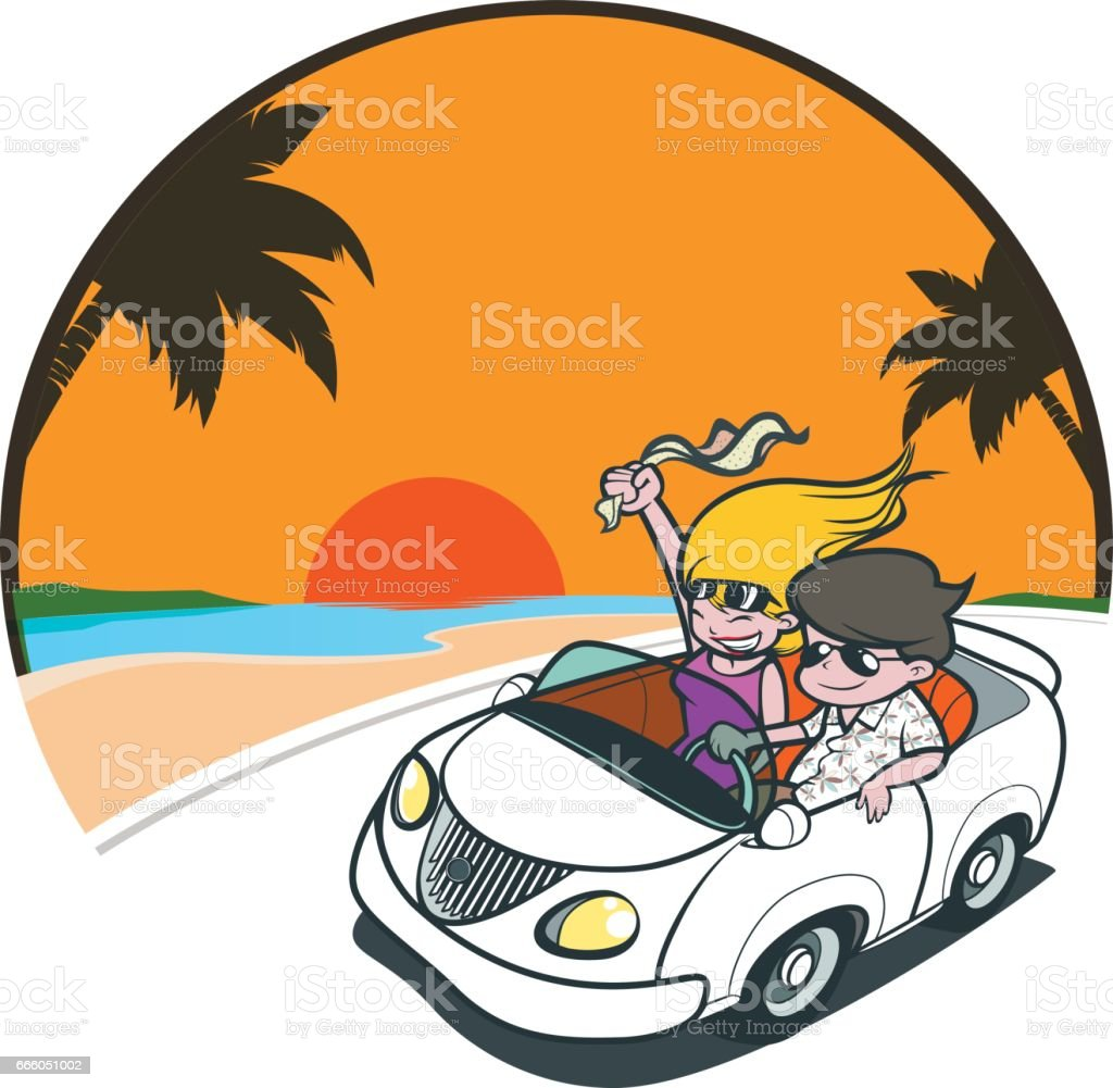 Couple driving with a sunset vector art illustration