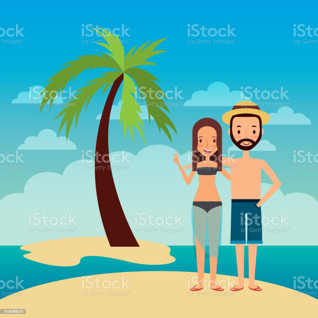 couple embrace happy in island beach tropical palm vector art illustration