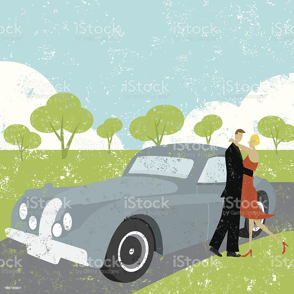 couple embracing beside car royalty-free stock vector art