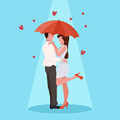 couple embracing under umbrella happy valentines day celebrating concept man woman having fun young lovers over heart shapes flat full length vector illustration