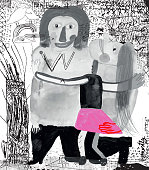 Mixed media illustration of couple hugging surrounded by doodle