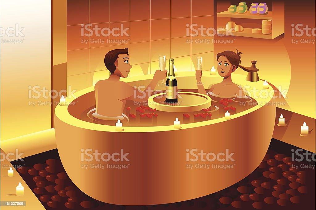 Coppia Che Sta Gustando Una Romantica Vasca Da Bagno Immagini