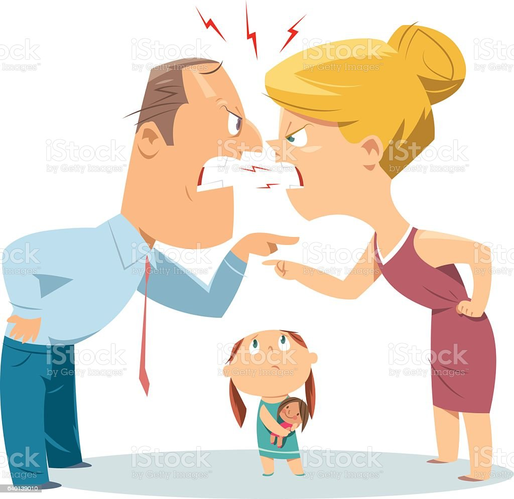 Couple fighting in front of child vector art illustration
