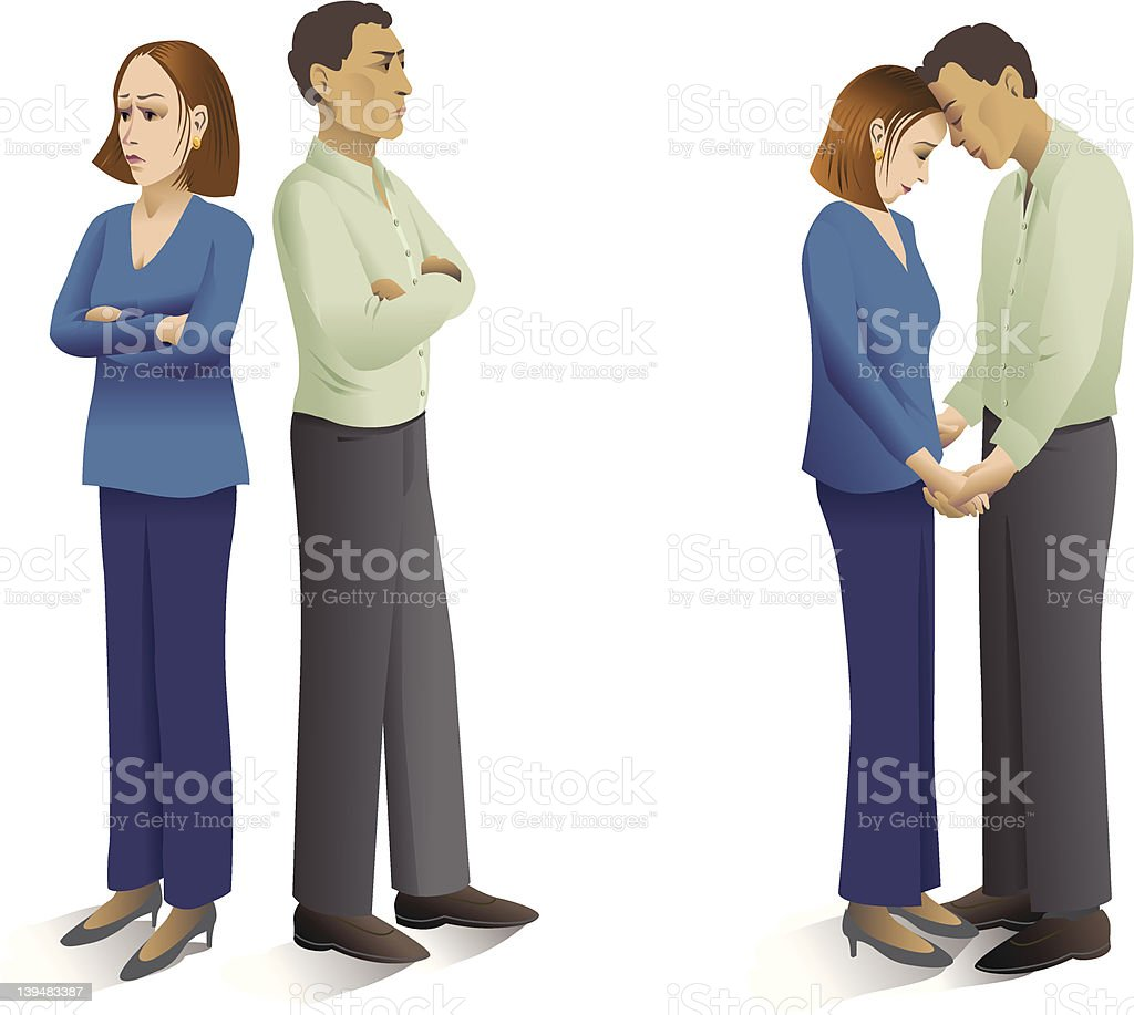 Couple Fighting, Making Up vector art illustration