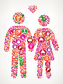 Couple  Food and Diet Vector Icon Background. The main object of this illustration is composed with round colorful buttons with food, diet and nutrition icons on them. The icons are white in color and include a variety of nutrition and diet items. You will find such icons as fruit, dairy, meat, utensils and many more on this colorful vector composition.  The background of the illustration is white with a slight gradient around the edges.