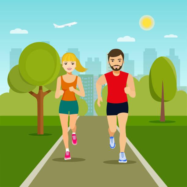 ilustrações de stock, clip art, desenhos animados e ícones de couple friends running in park. vector flat illustration - young woman running city