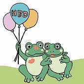 Couple frog happy birthday balloon cartoon vector illustration