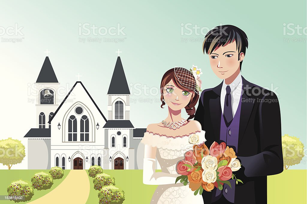 Couple getting married royalty-free stock vector art