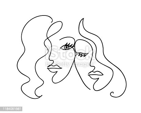 Couple girlfriend and sisters. Woman face with wavy hair. Fashion, friendship and love concept. Black and white hand drawn line art. Abstract outline vector illustration