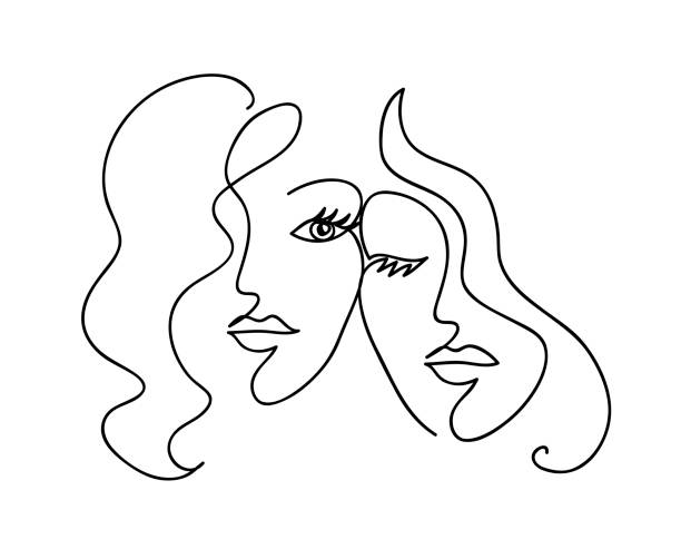 Couple girlfriend and sisters. Woman face with wavy hair. Fashion, friendship and love concept. Black and white hand drawn line art. Abstract outline vector illustration Couple girlfriend and sisters. Woman face with wavy hair. Fashion, friendship and love concept. Black and white hand drawn line art. Abstract outline vector illustration girlfriend stock illustrations