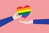 Heart Shape, Rainbow, Holding, Couple - Relationship, LGBTQI Rights, give, Homosexual