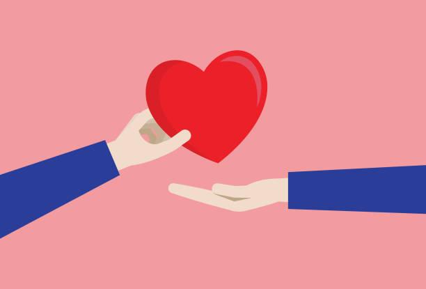 bildbanksillustrationer, clip art samt tecknat material och ikoner med ett par ger ett rött hjärta - par mänskliga relationer