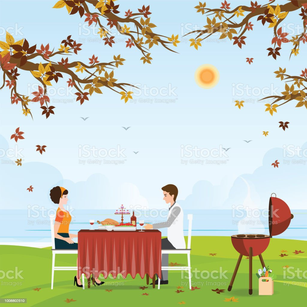 Couple grilling meat and picnic table under bright color autumn trees. vector art illustration