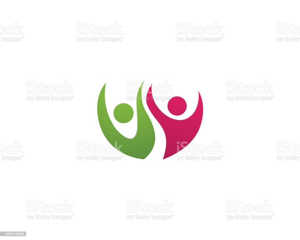 Couple groupe logo et symbole des soins de santé - Illustration vectorielle