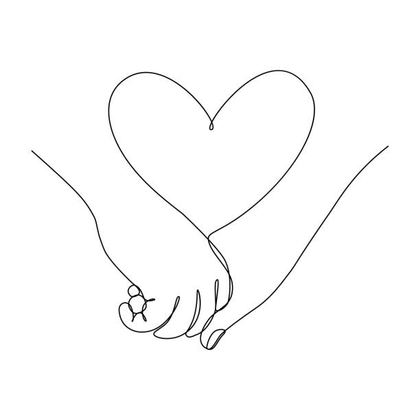 Couple hands together Couple holding hands together with heart symbol between. Love feelings. Vector illustration in continuous line art drawing style romance stock illustrations