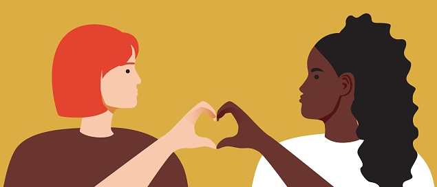 LGBTQ couple, hands with heart, Flat vector stock illustration with Lesbian woman and girlfriend as Lesbian couple