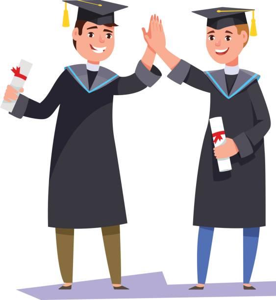 illustrazioni stock, clip art, cartoni animati e icone di tendenza di couple happy graduates man students with diplomas on graduation ceremony - compagni scuola