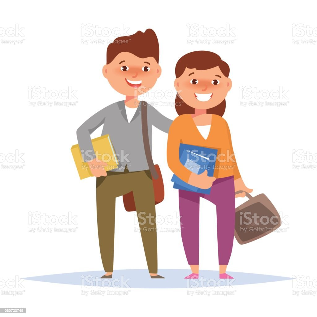 カップル幸せな学生少年と本で立っている女の子 8歳から9歳のベクター