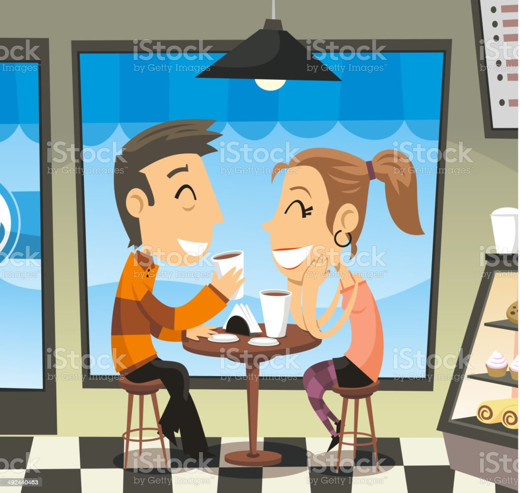 Couple having a coffee at a cafe laughing royalty-free stock vector art
