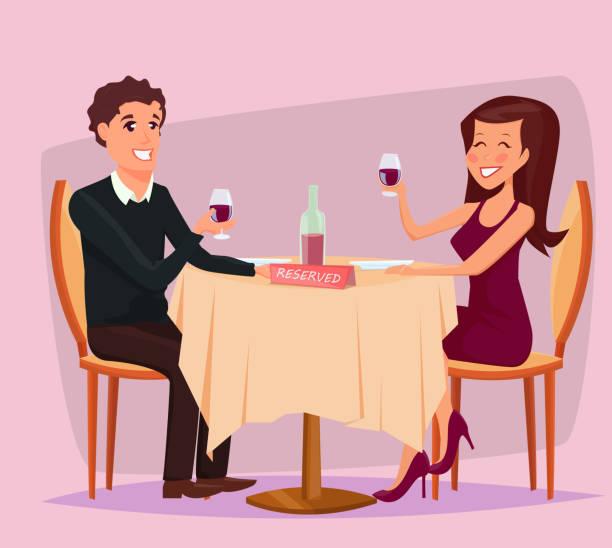 illustrazioni stock, clip art, cartoni animati e icone di tendenza di couple having a romantic dinner - dinner couple restaurant