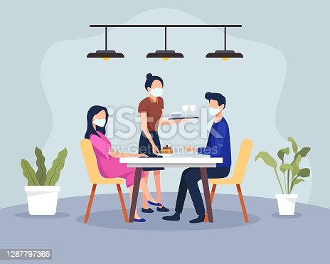 istock Couple having dinner in a restaurant with health protocols 1287797365