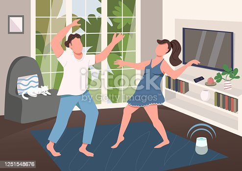 istock Couple having fun together flat color vector illustration 1251548676