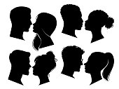 Couple heads in profile. Man and woman silhouettes, black outline face to face anonymous profiles. Avatar isolated adult portraits of people falling in love vector set