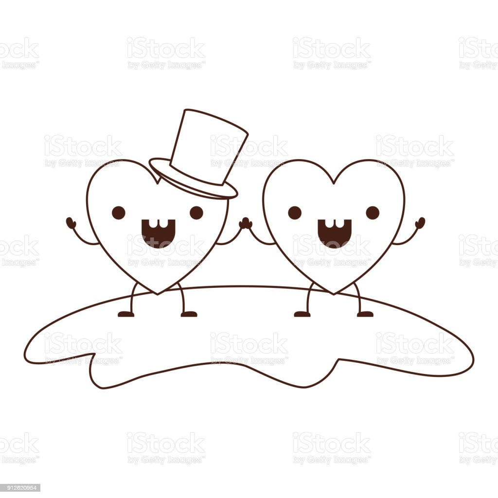 Couple Heart Character Kawaii Holding Hands And Him With Top Hat In