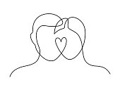 Continuous line drawing of man and woman heads  with heart on white background. Vector illustration