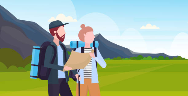 couple hikers with backpacks holding travel map man woman planning the route hiking concept travelers on hike mountain landscape background portrait horizontal flat couple hikers with backpacks holding travel map man woman planning the route hiking concept travelers on hike mountain landscape background portrait horizontal flat vector illustration young couple stock illustrations