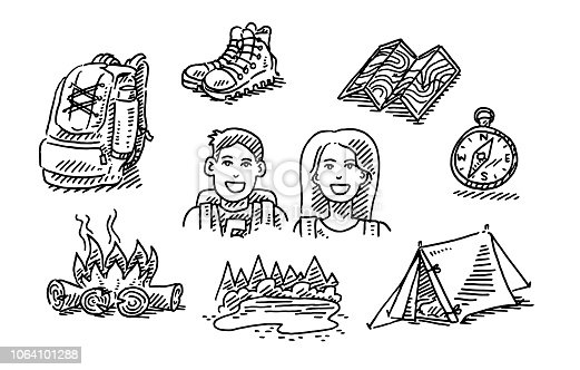 Hand-drawn vector drawing of a Couple Hiking Trip Vacation Icon Set. Black-and-White sketch on a transparent background (.eps-file). Included files are EPS (v10) and Hi-Res JPG.